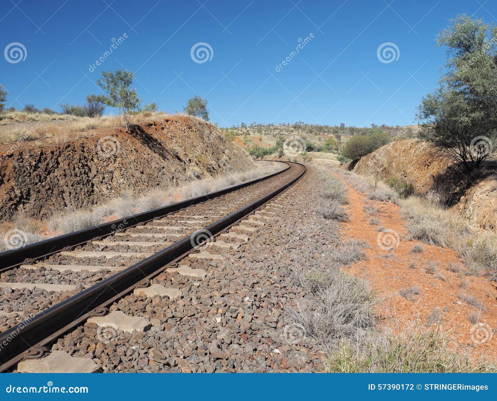 Het Ghan-spoorwegspoor van het noorden van Alice Springs