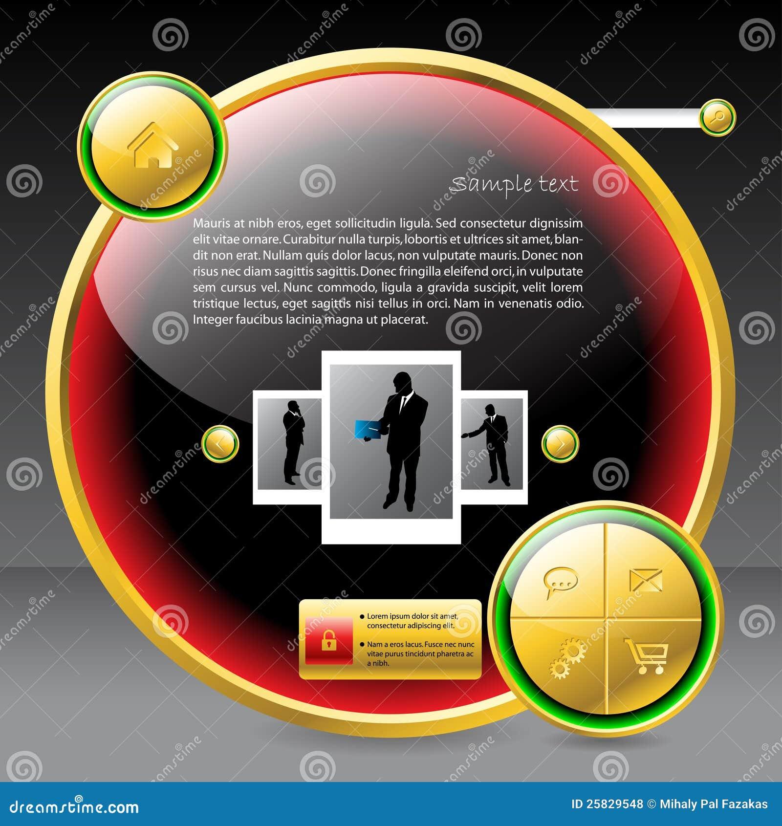 Het glanzende knoop gestalte gegeven ontwerp van het websitemalplaatje