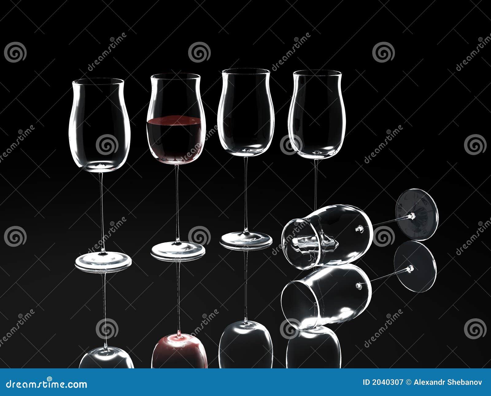 Het glas van de wijn op zwarte