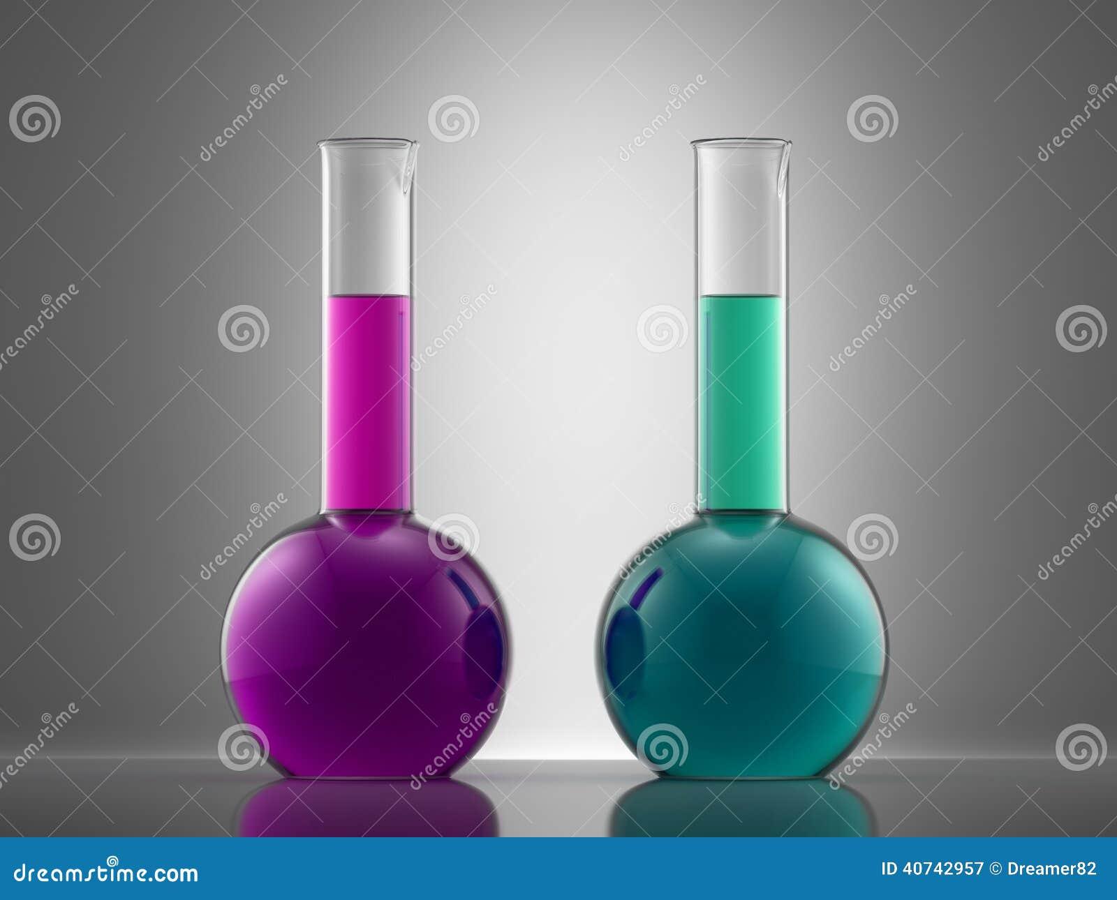 Het glasmateriaal van het wetenschapslaboratorium met vloeistof flessen met colo