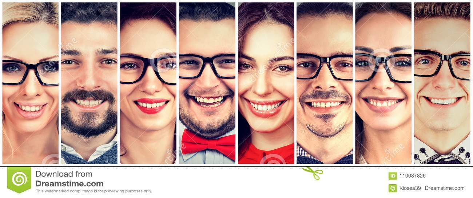 Het glimlachen Gezichten Gelukkige groep multi-etnische mensen