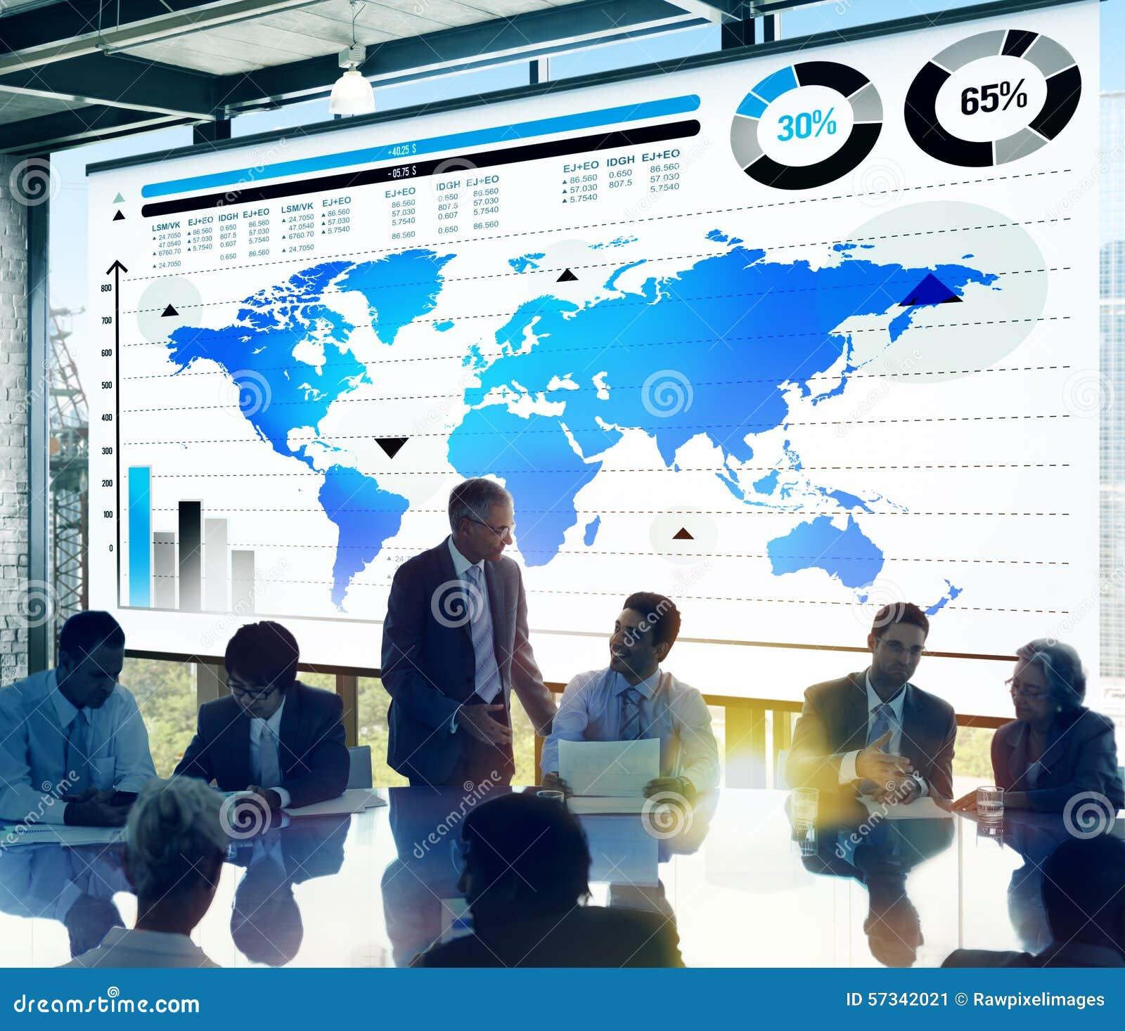Het globale Concept van de de Wereldkaart van de Bedrijfsgrafiekgroei