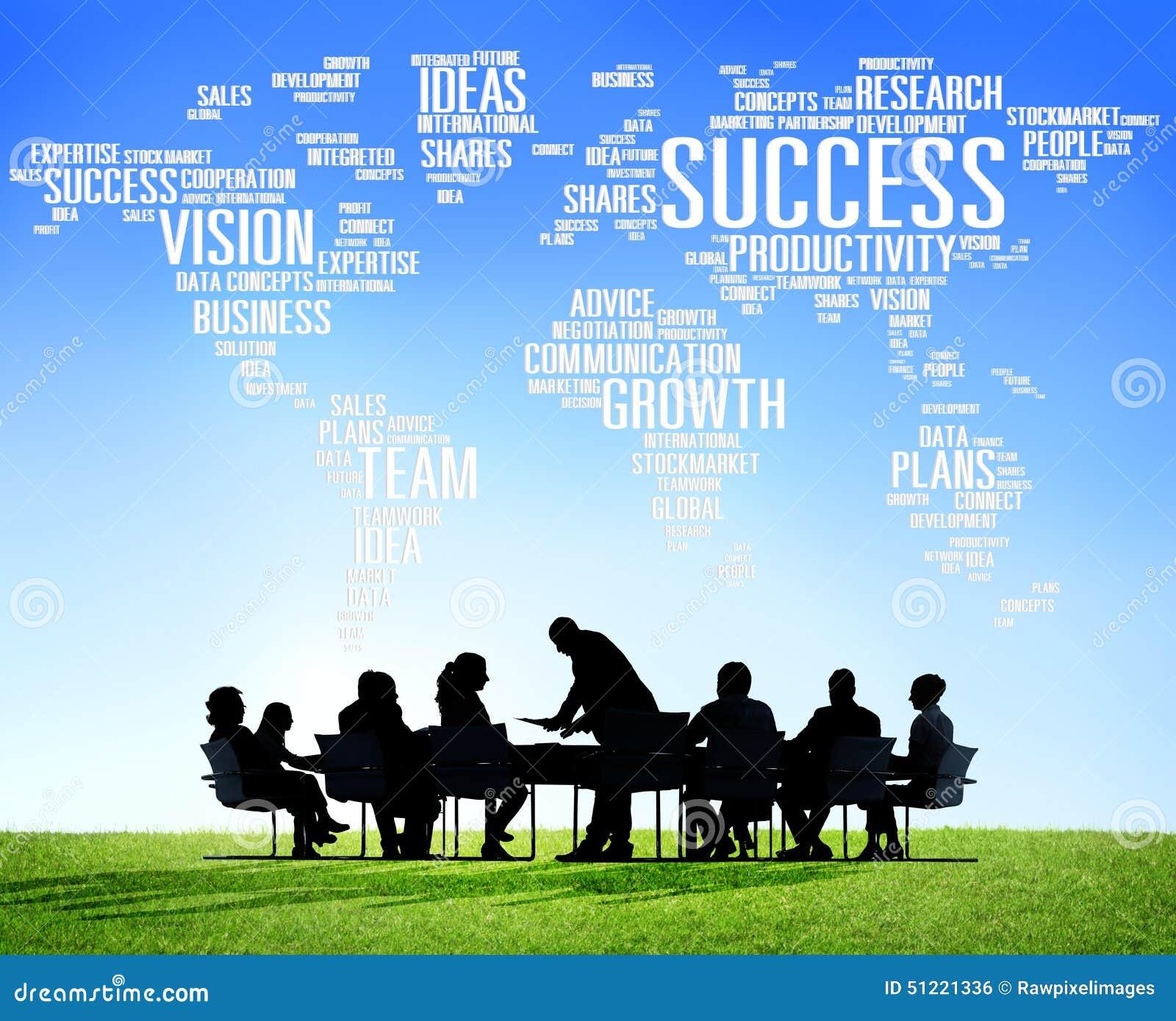 Het globale Concept van de het Succesgroei van de Bedrijfsmensen Collectieve Vergadering
