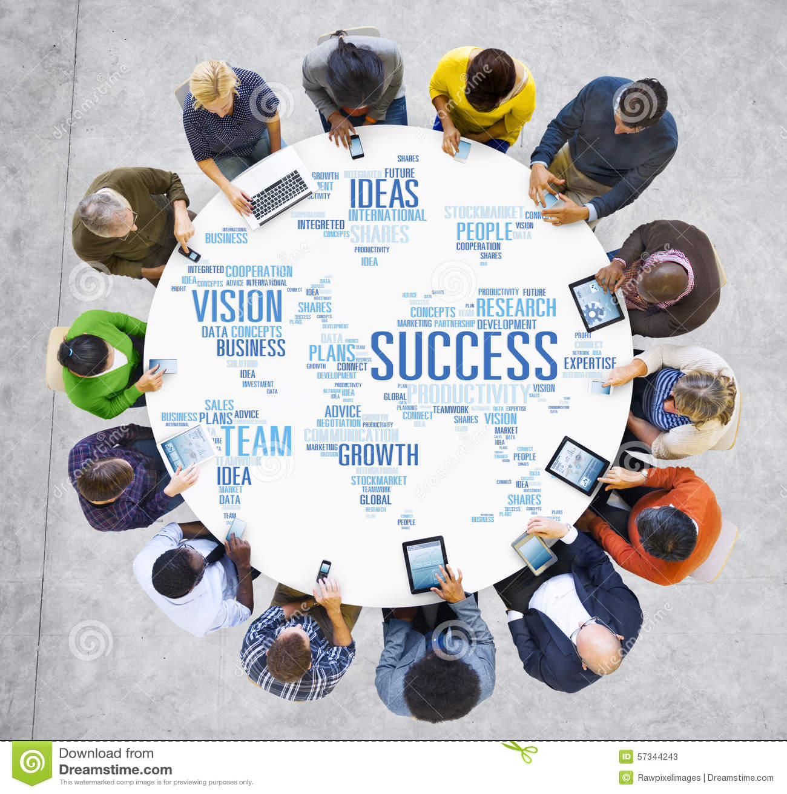 Het globale Concept van het de Technologiesucces van het Bedrijfsmensen Digitale Apparaat