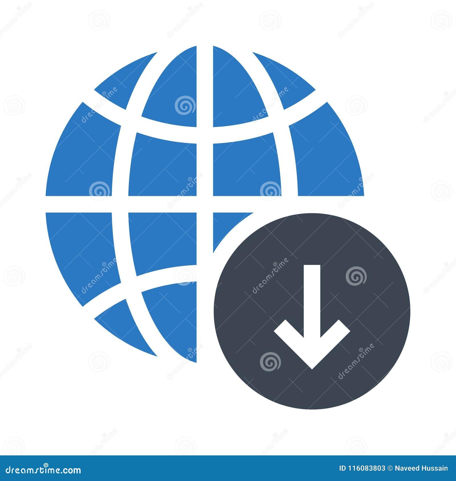 Het globale pictogram van de download glyphs dubbele kleur