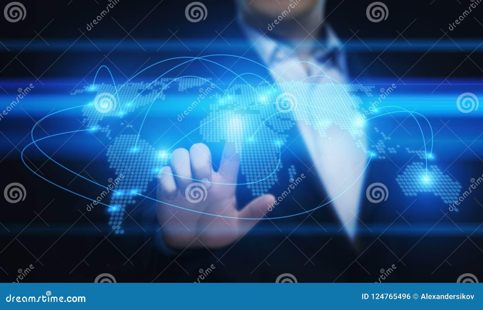 Het globale Wereld van Communicatie Concept Verbindings Bedrijfsnetwerkinternet Techology