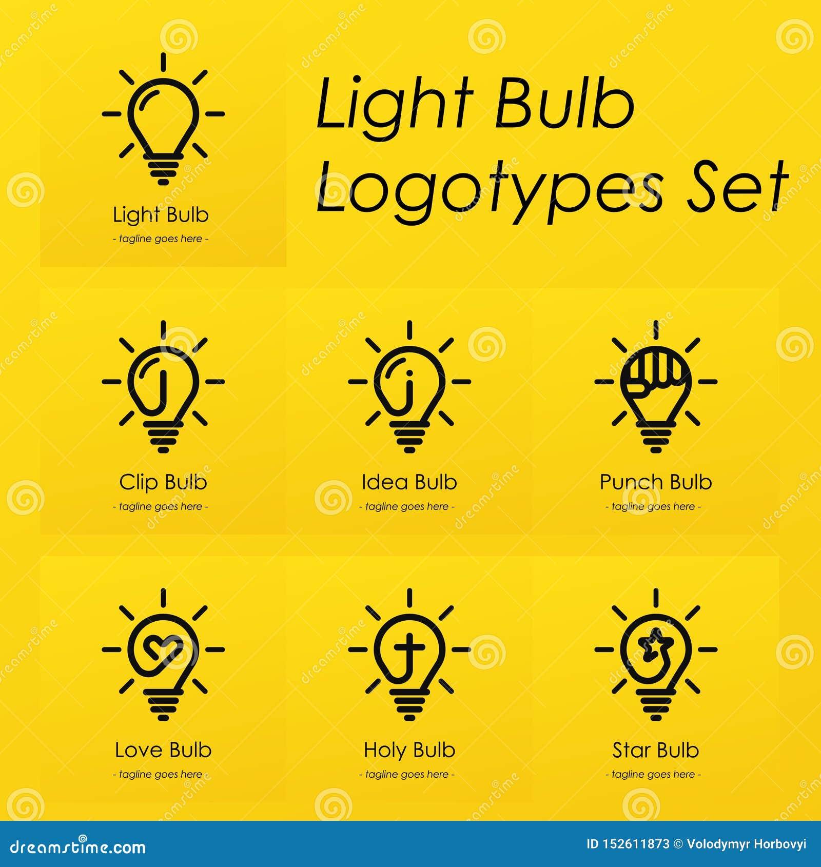 Het gloeilampensymbool logotypes plaatste met creatieve ideeën, ster, kruis, stempel, liefdehart, idee, klemsymbolen in gloeilamp