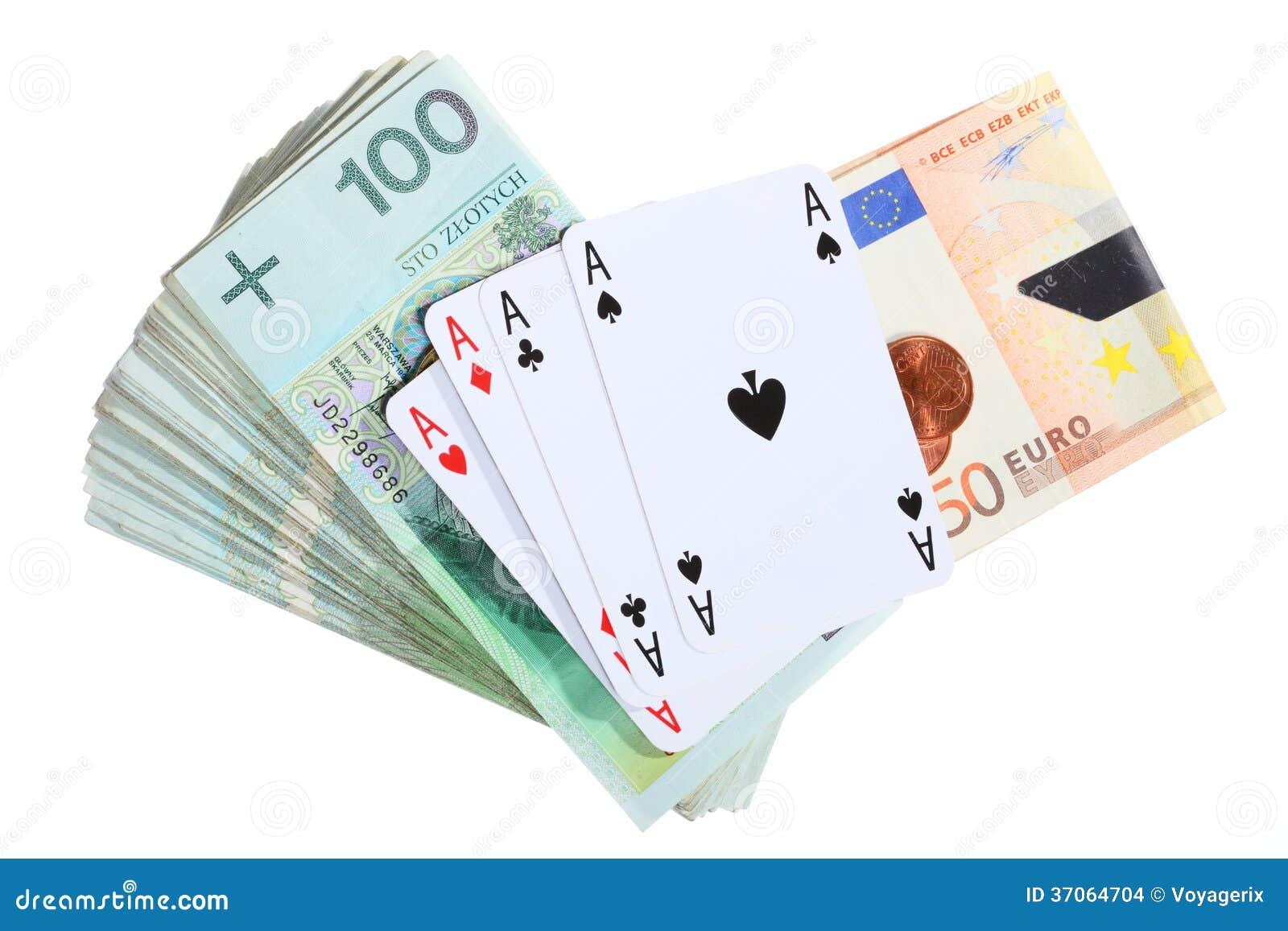 Het gokken concept. Speelkaartenazen en geld
