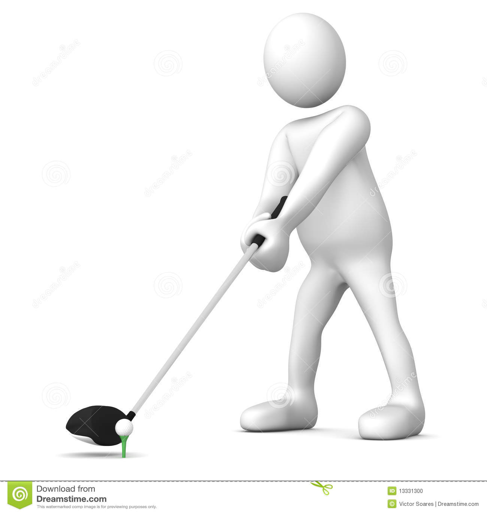 Het golfspelerT-stuk weg