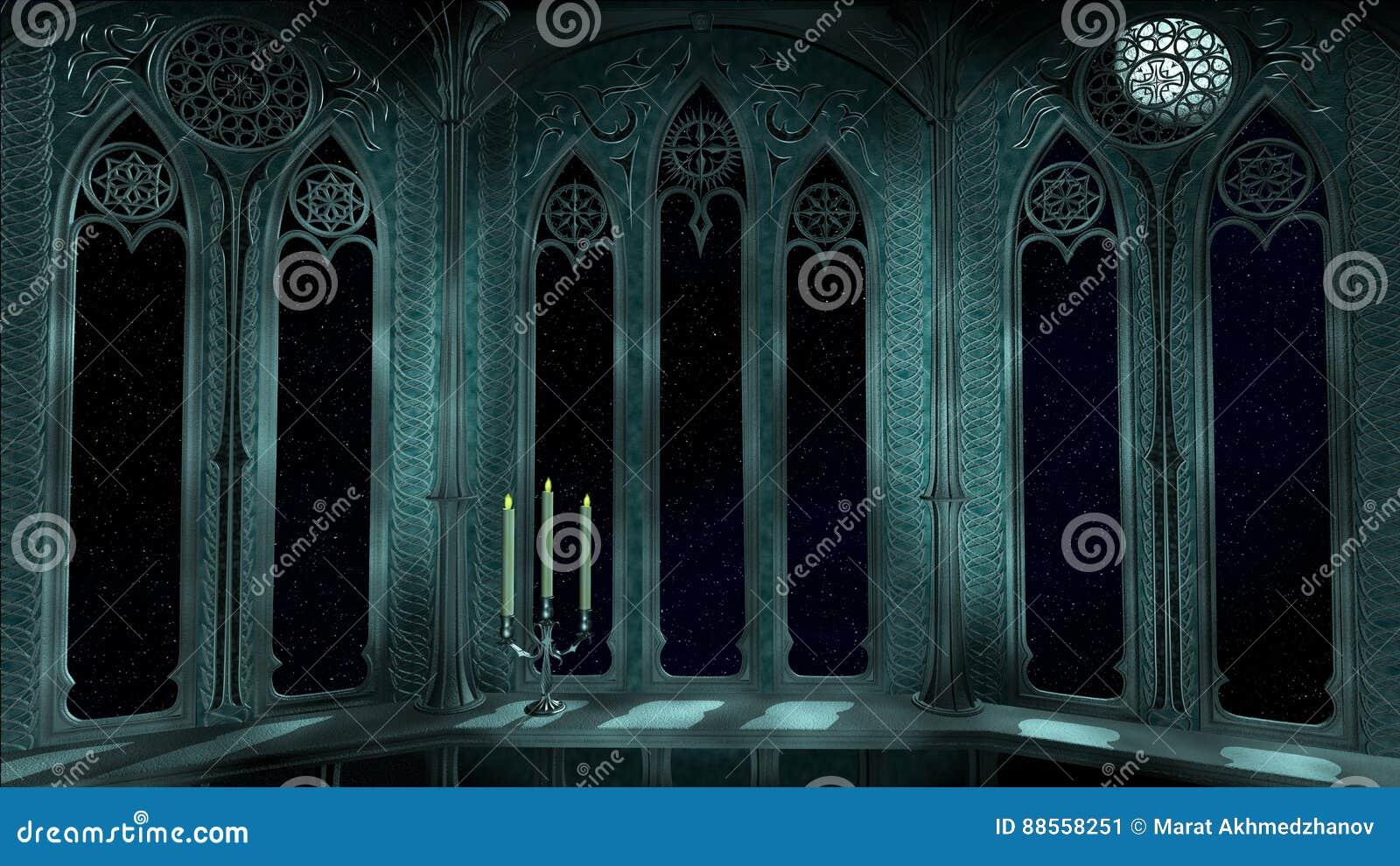 Het gotische balkon in oud 3d kasteel geeft achtergrond terug