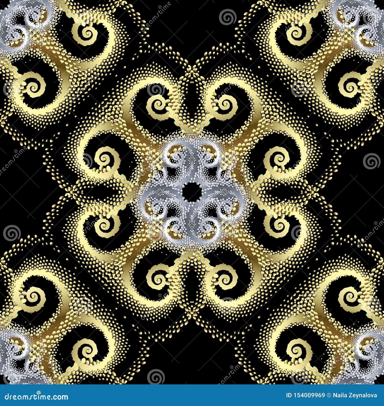 Het goud stippelde 3d vector naadloos patroon Abstracte sier geweven achtergrond Uitstekend stijl modern gouden ornament met