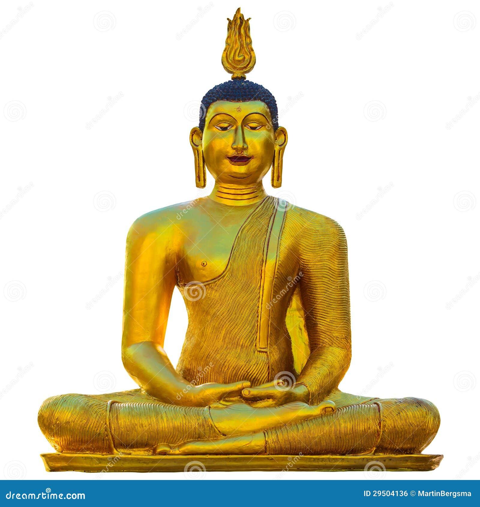 Het gouden die standbeeld van Boedha op wit wordt geïsoleerd