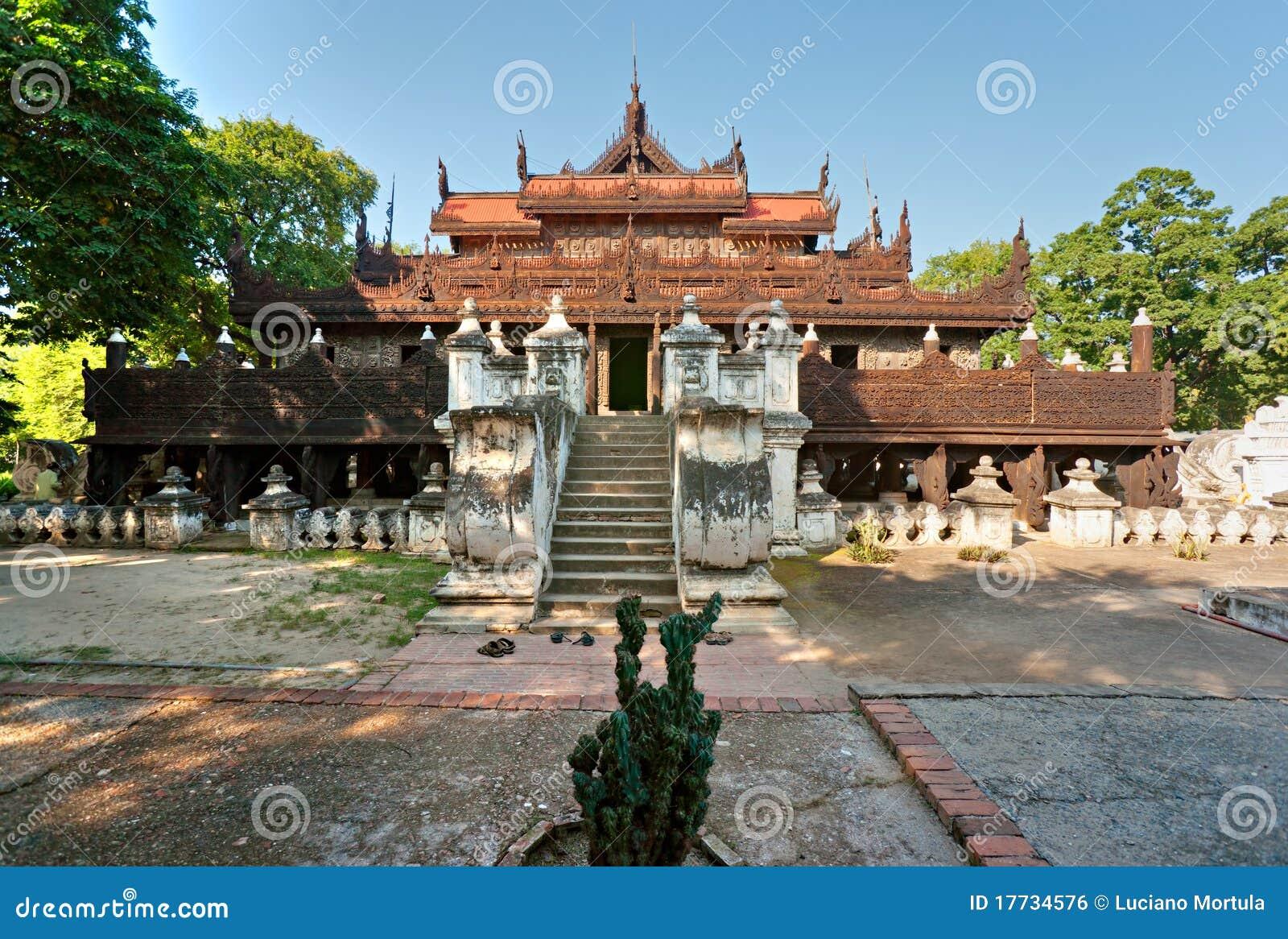 Het gouden Klooster van het Paleis, Mandalay, Myanmar (Birma)