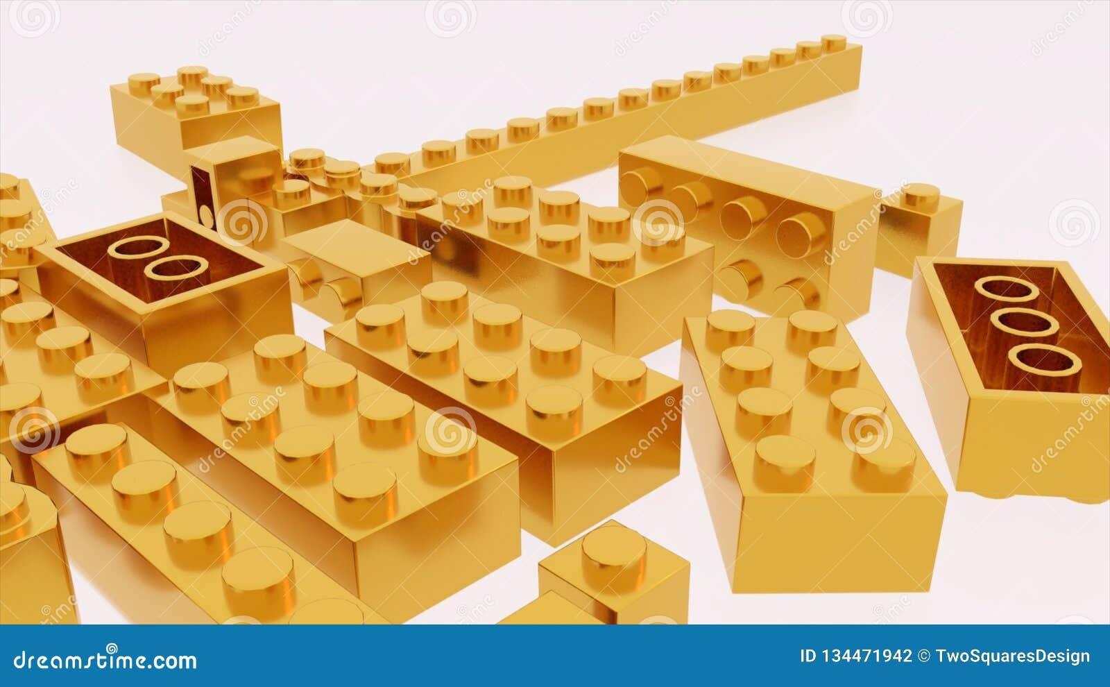 Het gouden stuk speelgoed van lego plastic bakstenen