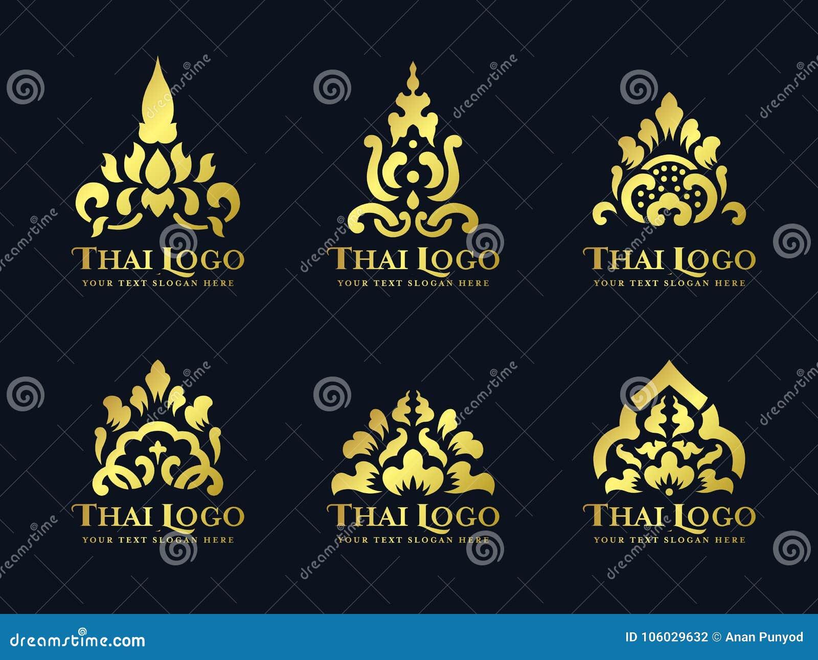Het gouden Thaise van het de bloemembleem van de kunst traditionele lotusbloem vector vastgestelde ontwerp