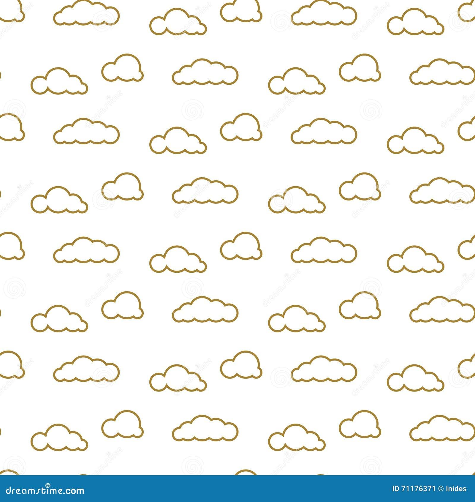 Het gouden vector naadloze patroon van lijnwolken Dichte hemeldruk voor textiel