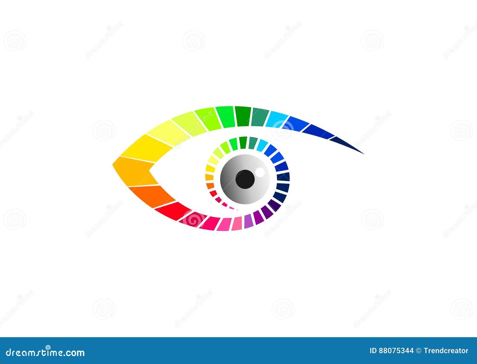 Het grafisch oogembleem, optisch symbool, pictogram van manierglazen, schoonheids visueel merk, luxevisie, en contactlensconcepto