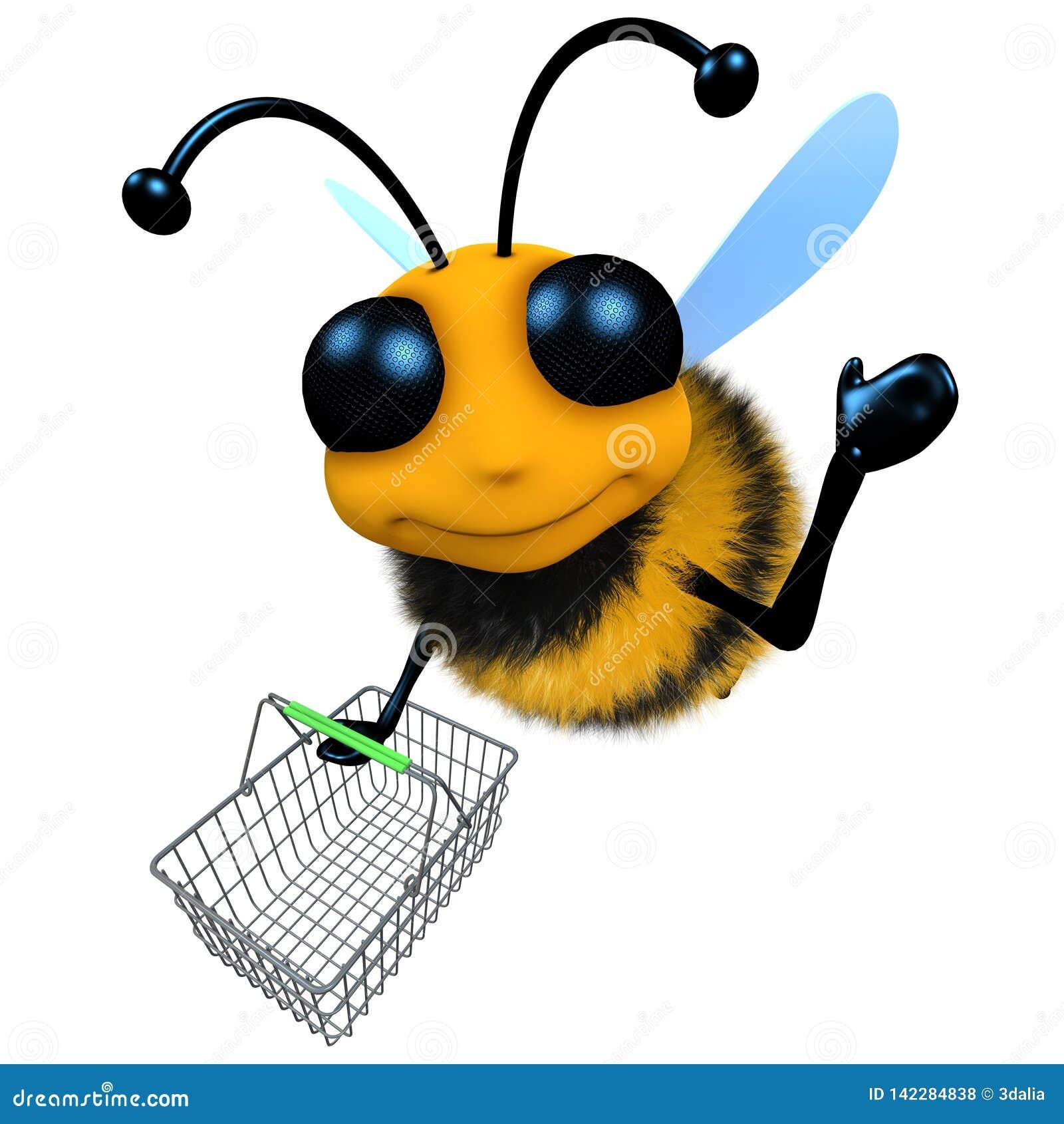 Het grappige 3d karakter die van de beeldverhaalhoningbij met een het winkelen mand vliegen
