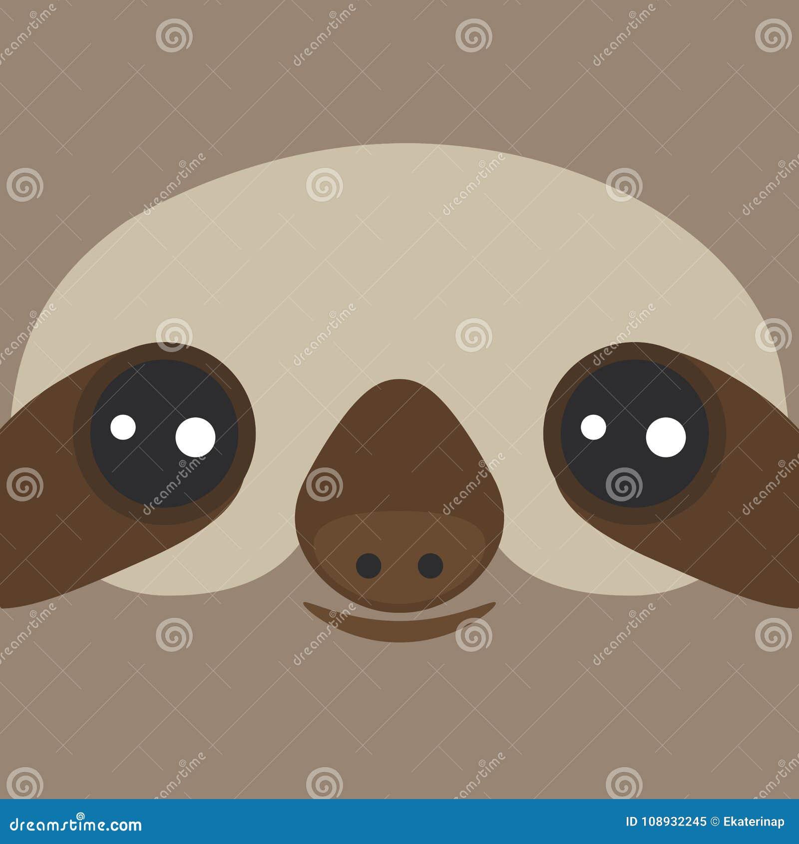 Het grappige en leuke glimlachen drie-Toed luiaard op bruine achtergrond Vector