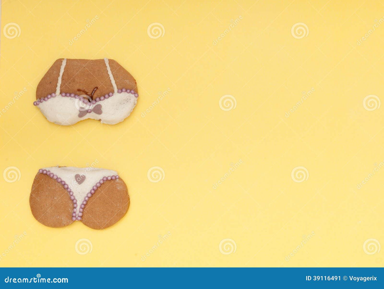 Het grappige koekje van de de vormpeperkoek van het bikiniondergoed