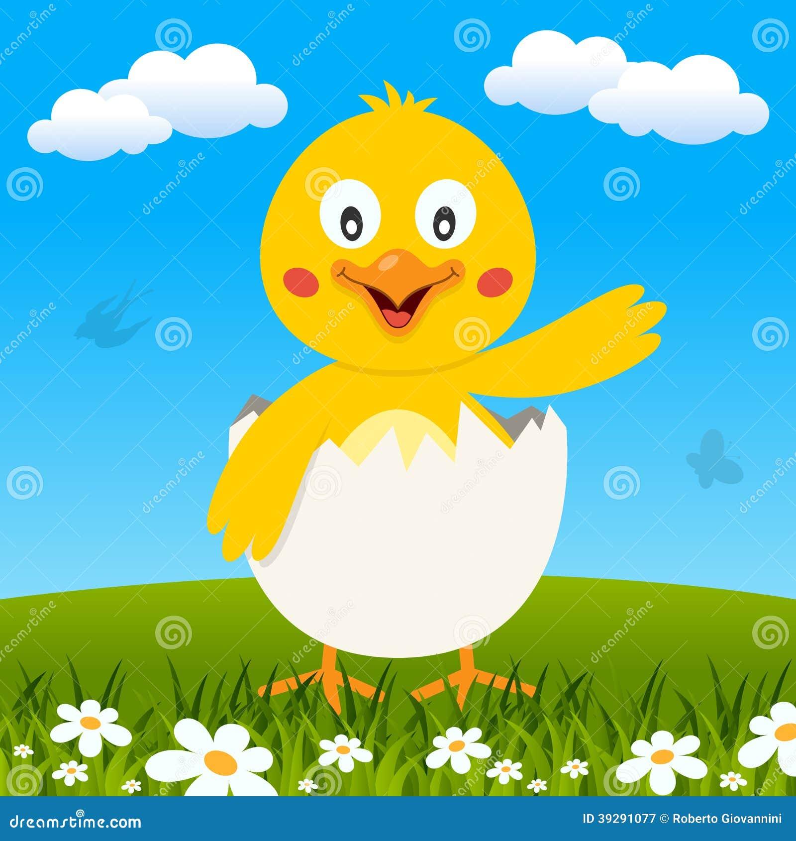 Het Grappige Kuiken van Pasen in een Weide
