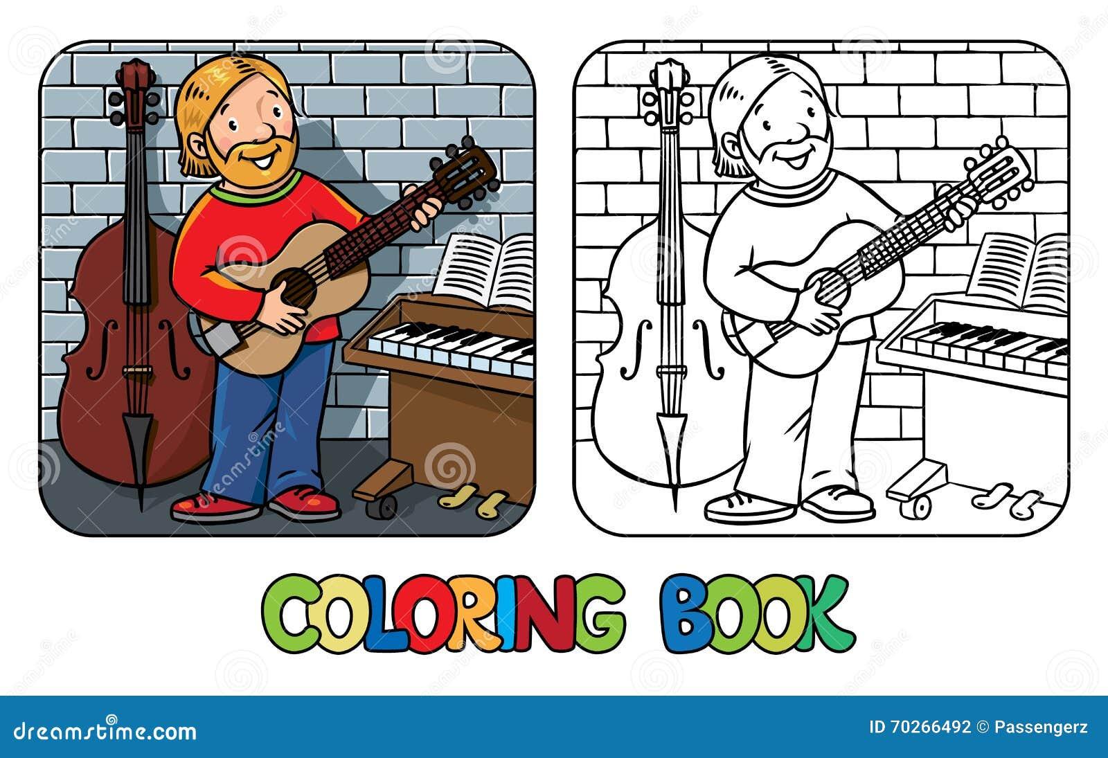Het grappige musicus of gitaristboek van Coloring