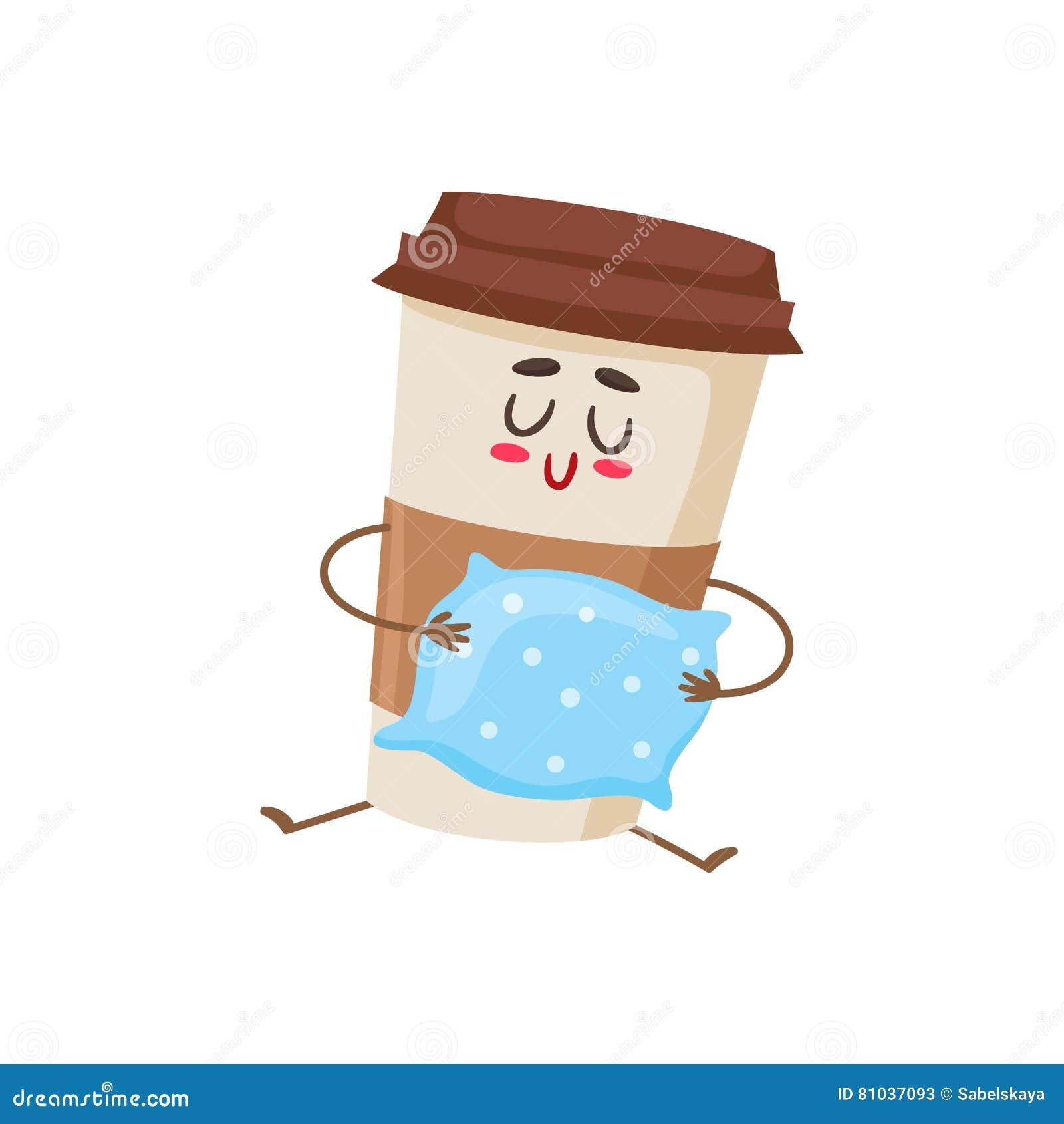 Het grappige slaperige document karakter van de koffiekop met een hoofdkussen