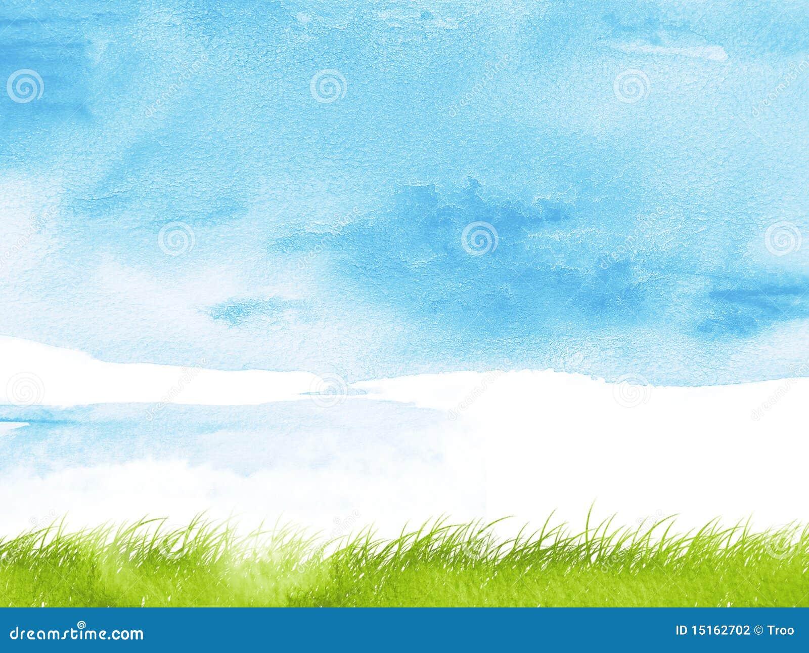 Het gras van de waterverf