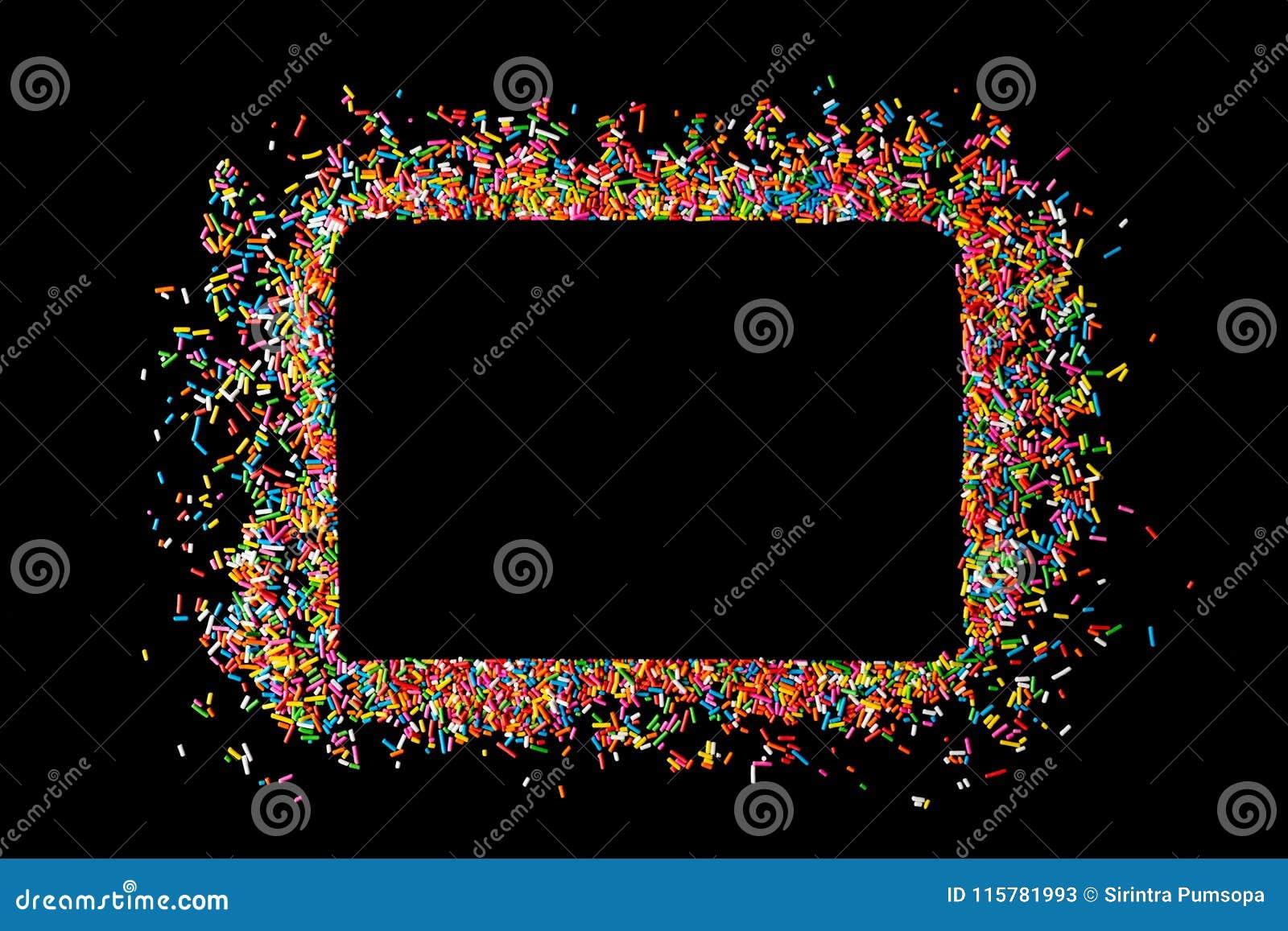 Het grenskader van kleurrijk bestrooit op een zwarte achtergrond met mede