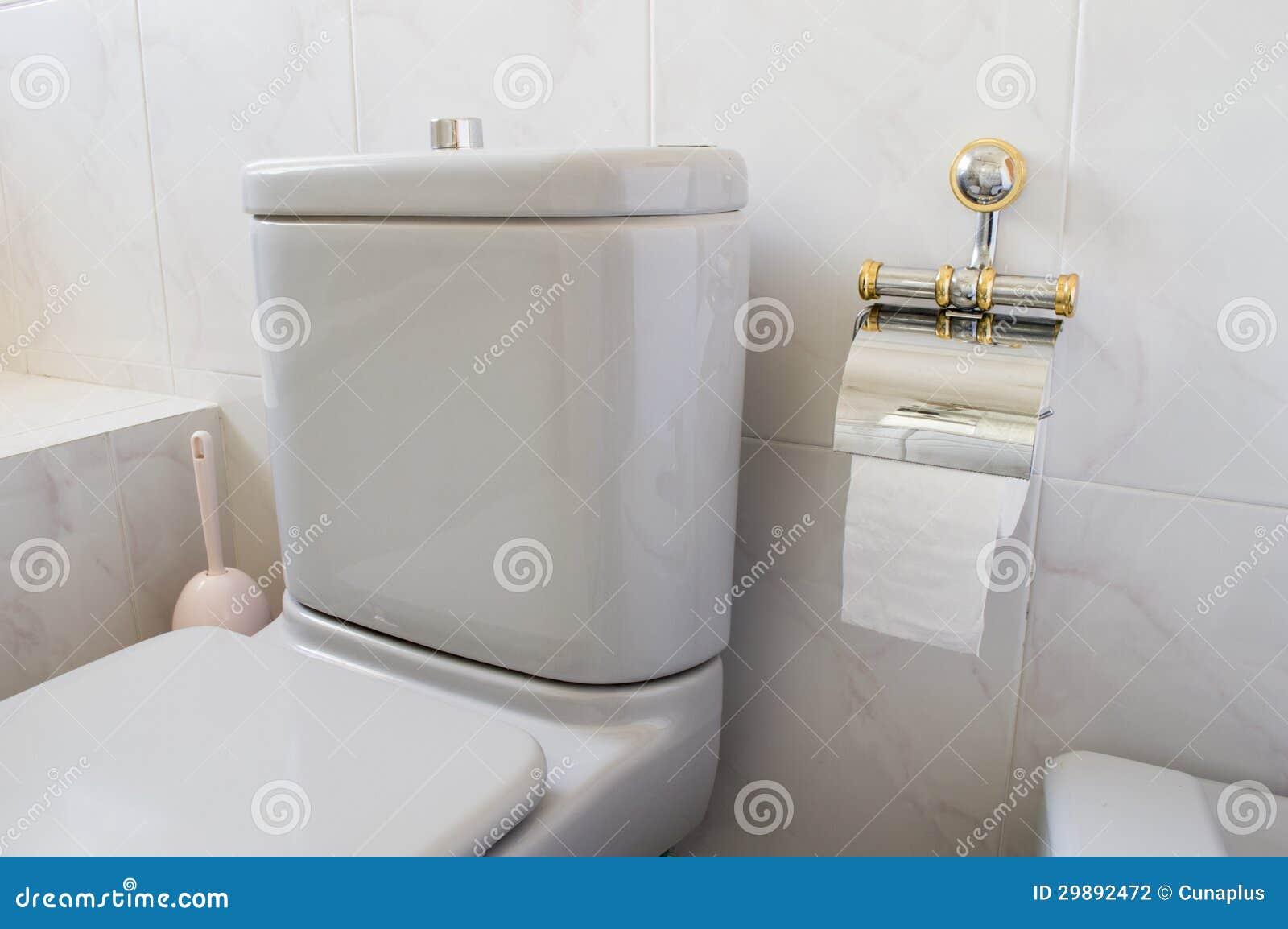 Grijs toilet en toiletpapier stock foto afbeelding 29892472 - Deco toilet grijs en wit ...