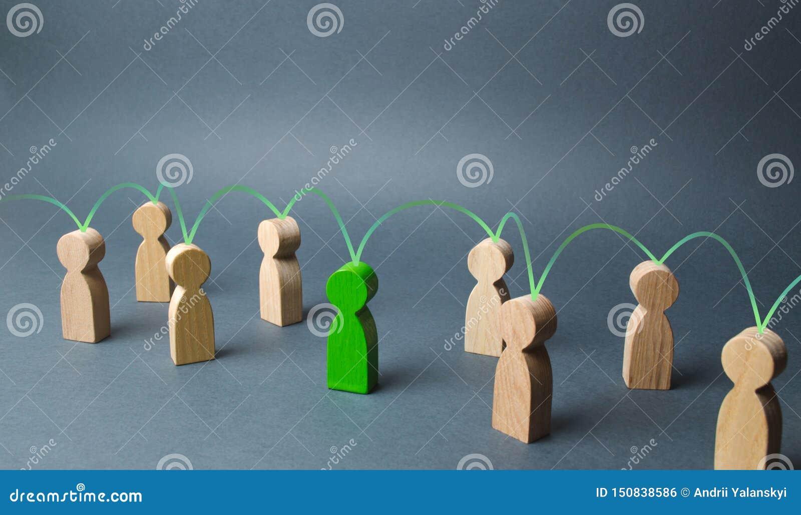 Het groene cijfer van een persoon verenigt andere mensen rond hem Sociale verbindingen, mededeling organisatie Vraag naar samenwe