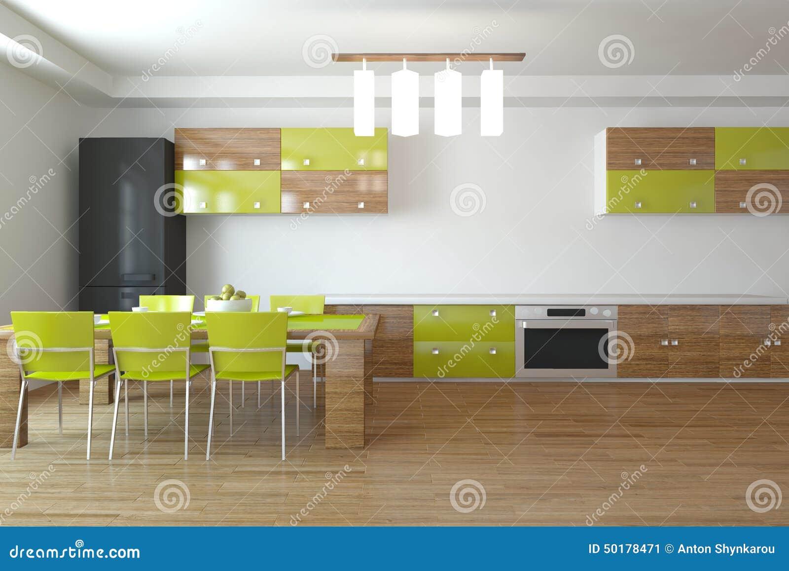 Het groene keuken ontwerp 3d teruggeven stock illustratie ...