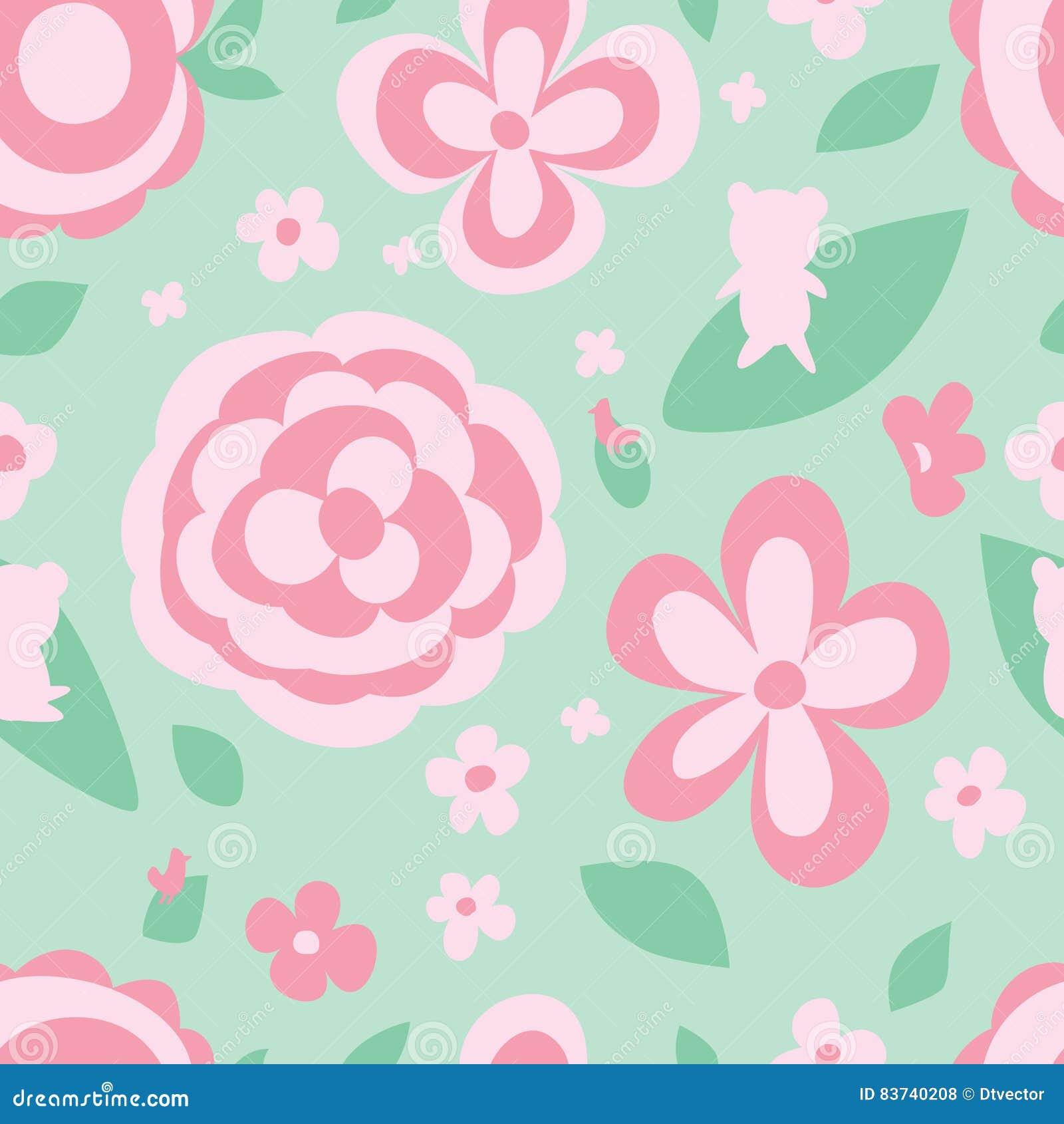 Het groene naadloze patroon van de bloempastelkleur