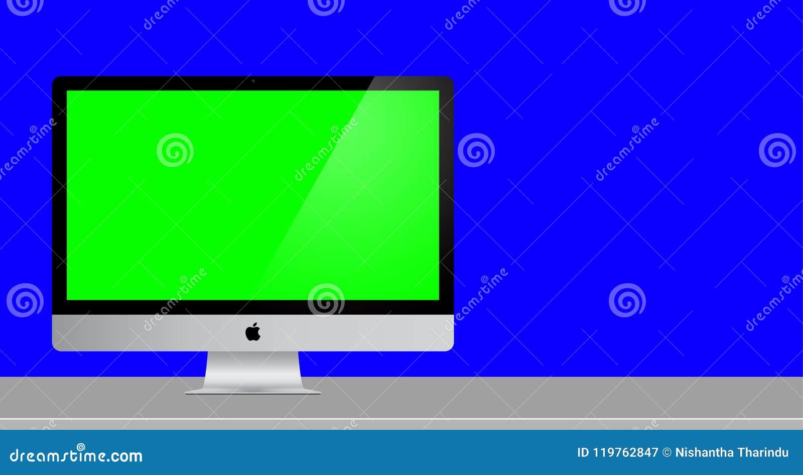 Het groene Scherm Mac Computer met volledige blauwe achtergrond 3