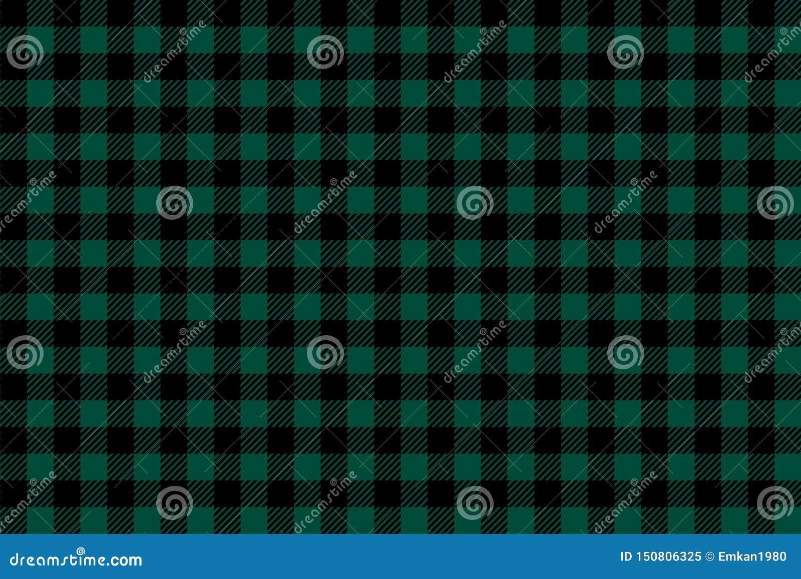 Het groene zwarte naadloze patroon van de Houthakkersplaid
