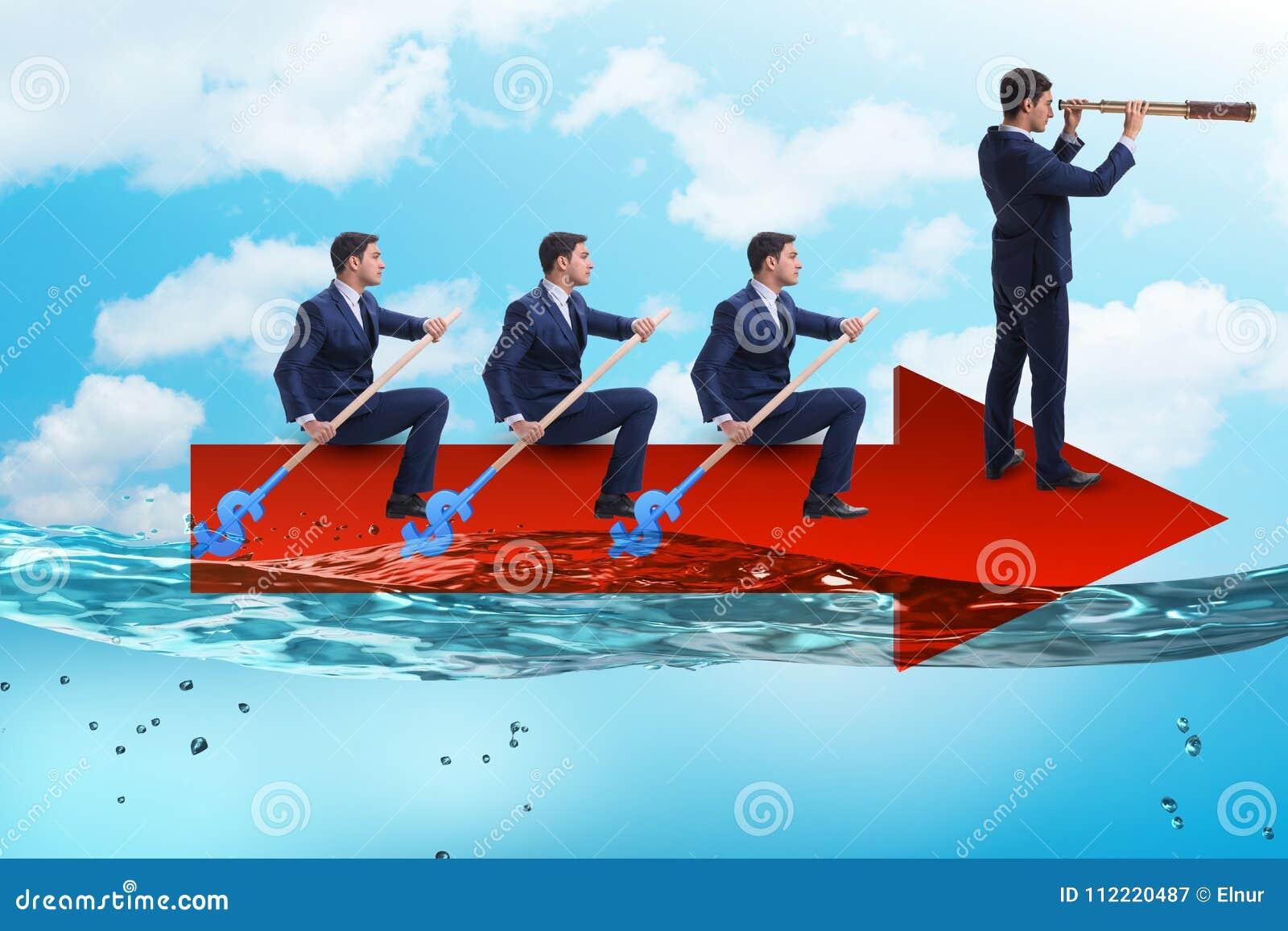 Het groepswerkconcept met zakenlieden op boot
