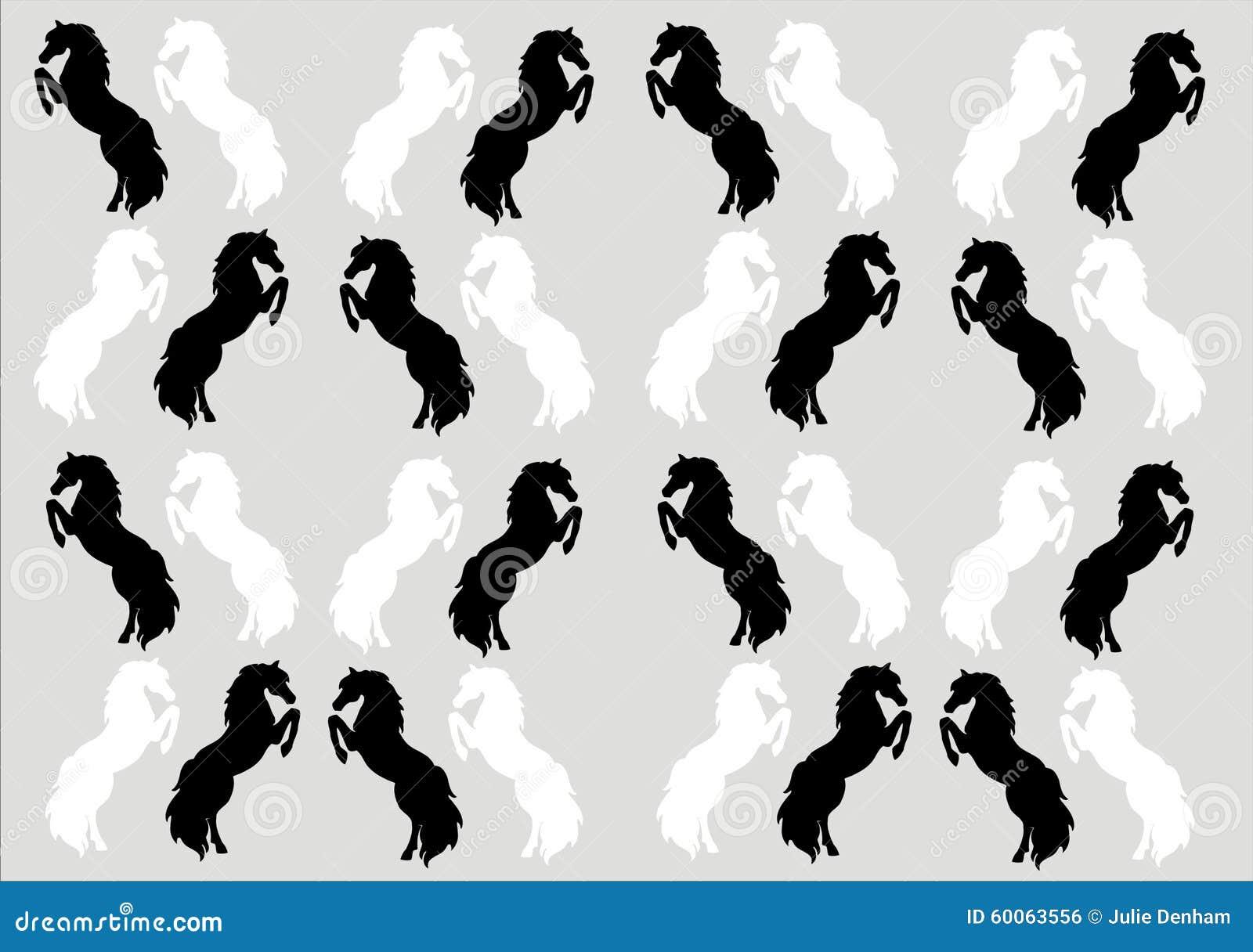 Het grootbrengen achtergrond van het paarden de zwart wit behang stock illustratie afbeelding - Te vangen zwart wit ontwerp ...
