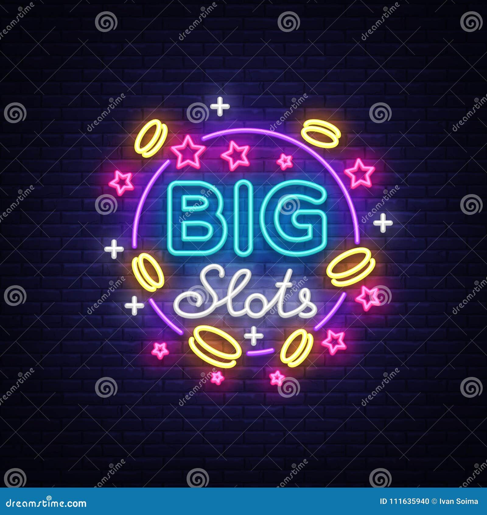 Het grote teken van het groevenneon Ontwerpmalplaatje in neonstijl Gokautomaten Licht Logo Symbol, het Winnen Pot, Lichtgevend We