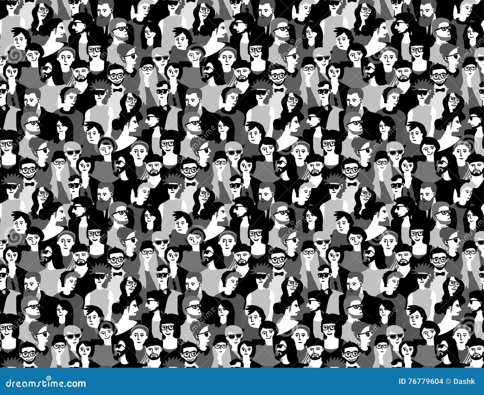 Het grote zwart-witte naadloze patroon van menigte gelukkige mensen