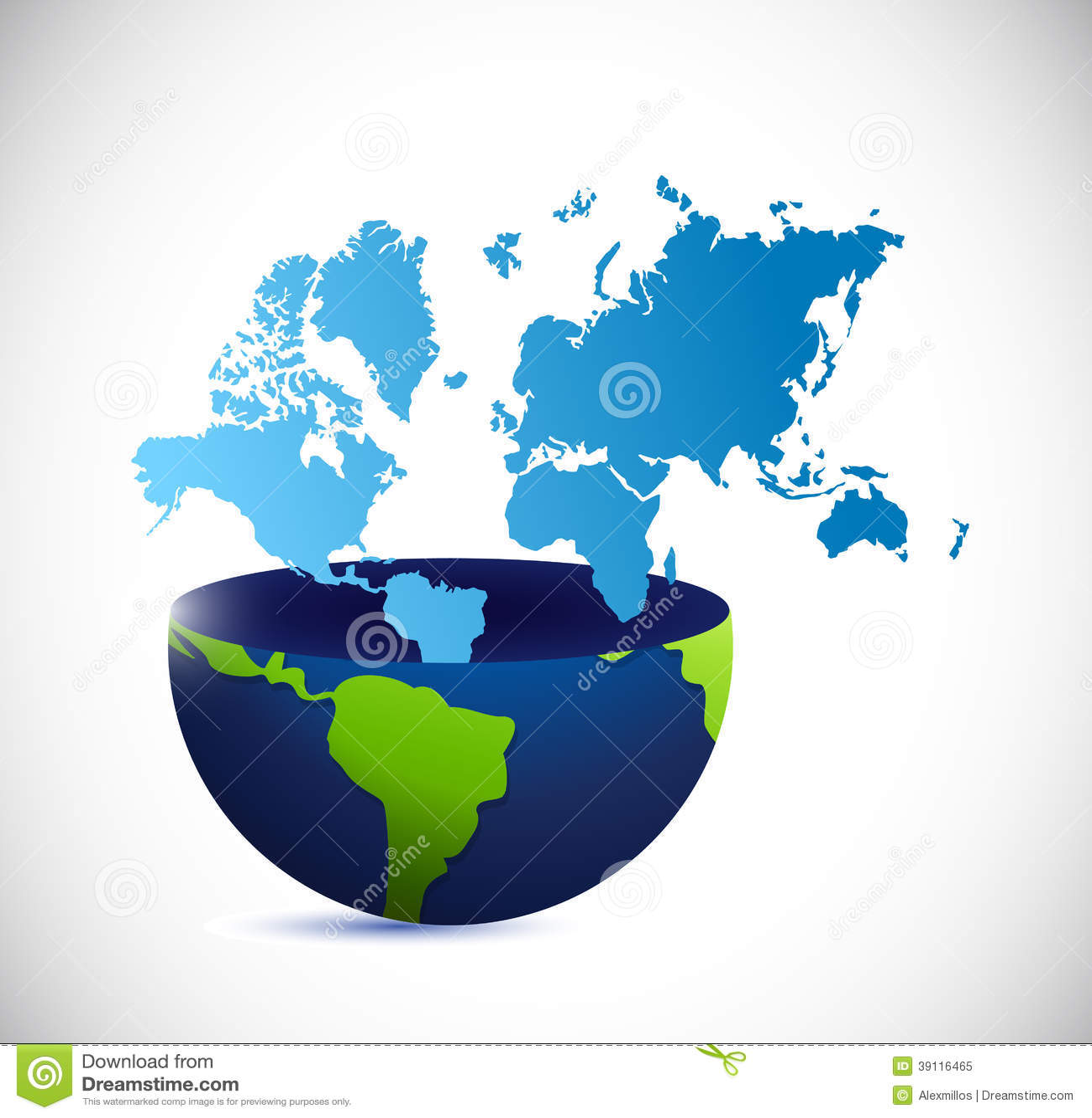 Het halve bol en wereldontwerp van de kaartillustratie
