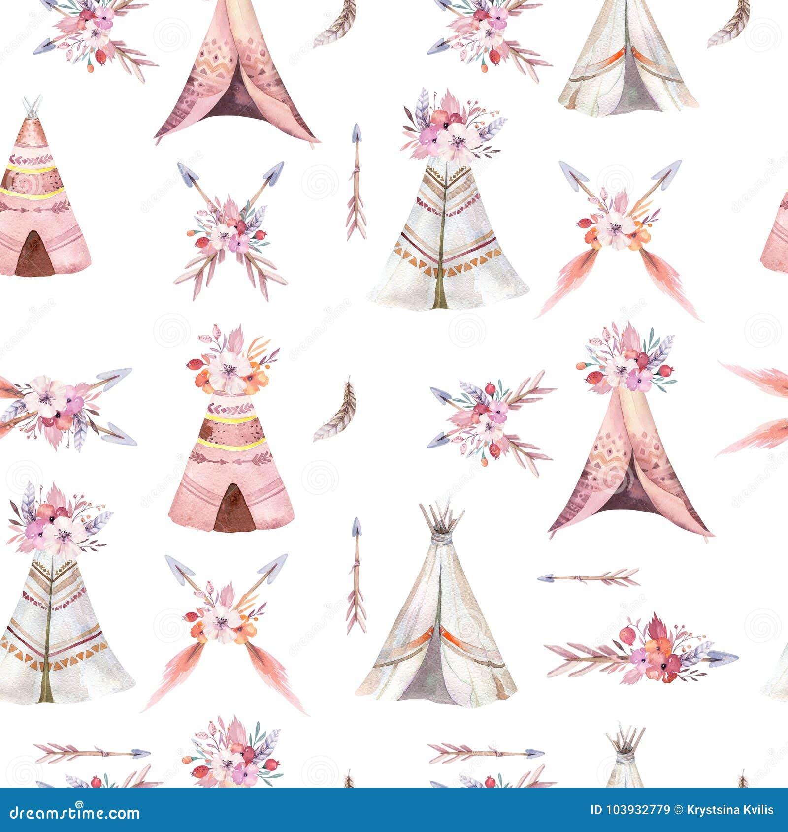 Het hand getrokken naadloze patroon van het waterverf stammentipi, patronen van de het ornamentwigwam van Boho Amerika de traditi