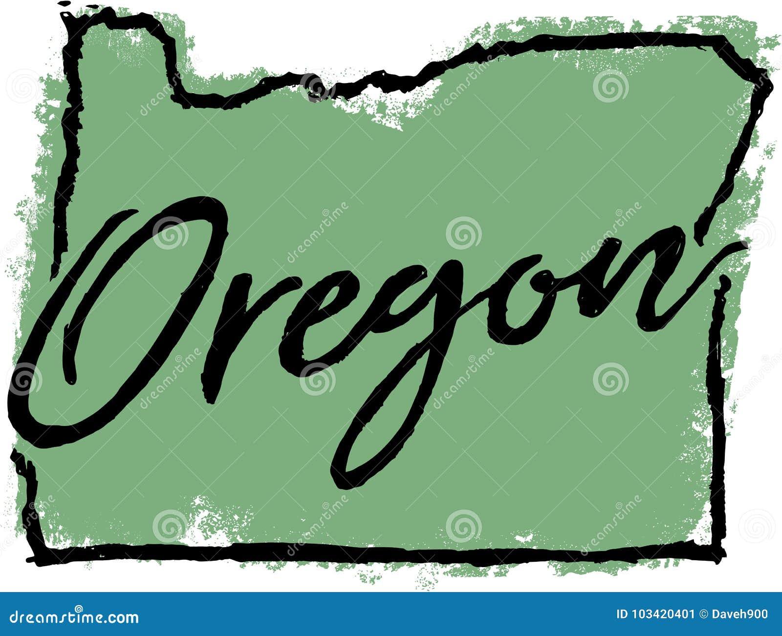 Het hand Getrokken Ontwerp van de Staat van Oregon