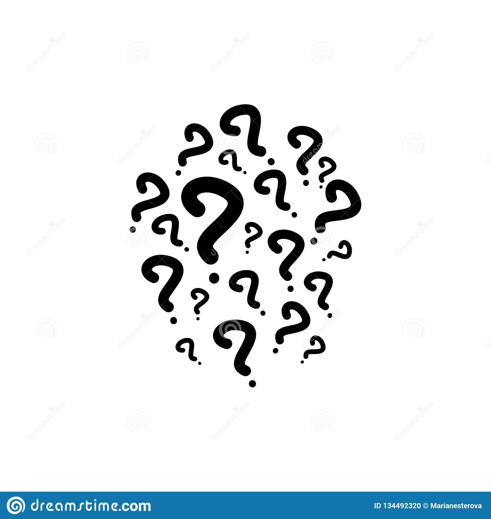 Het hand getrokken pictogram van het vraagtekensteken Vlakke vectordieillustratie op wit wordt geïsoleerd Zwart-wit pictogram