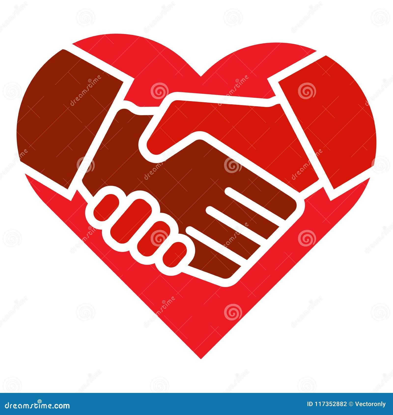 Het handdrukteam overhandigt hartembleem