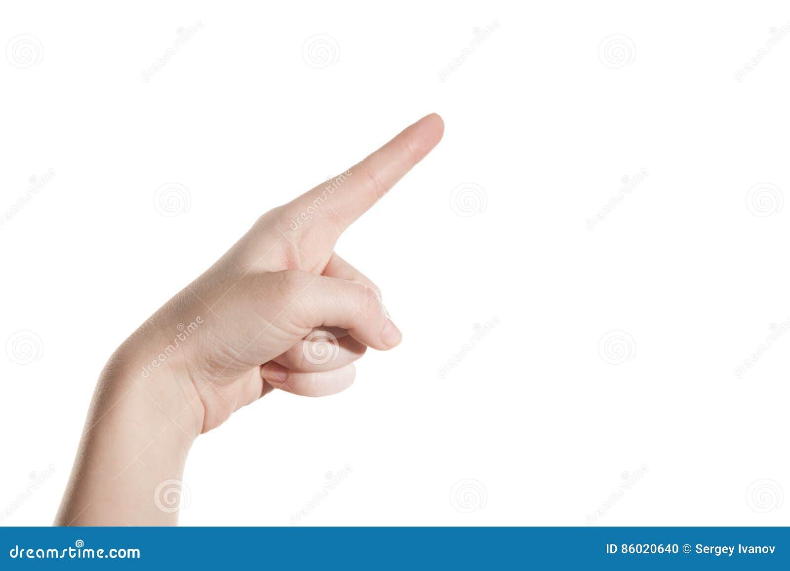 Het handmeisje toont de wijsvinger