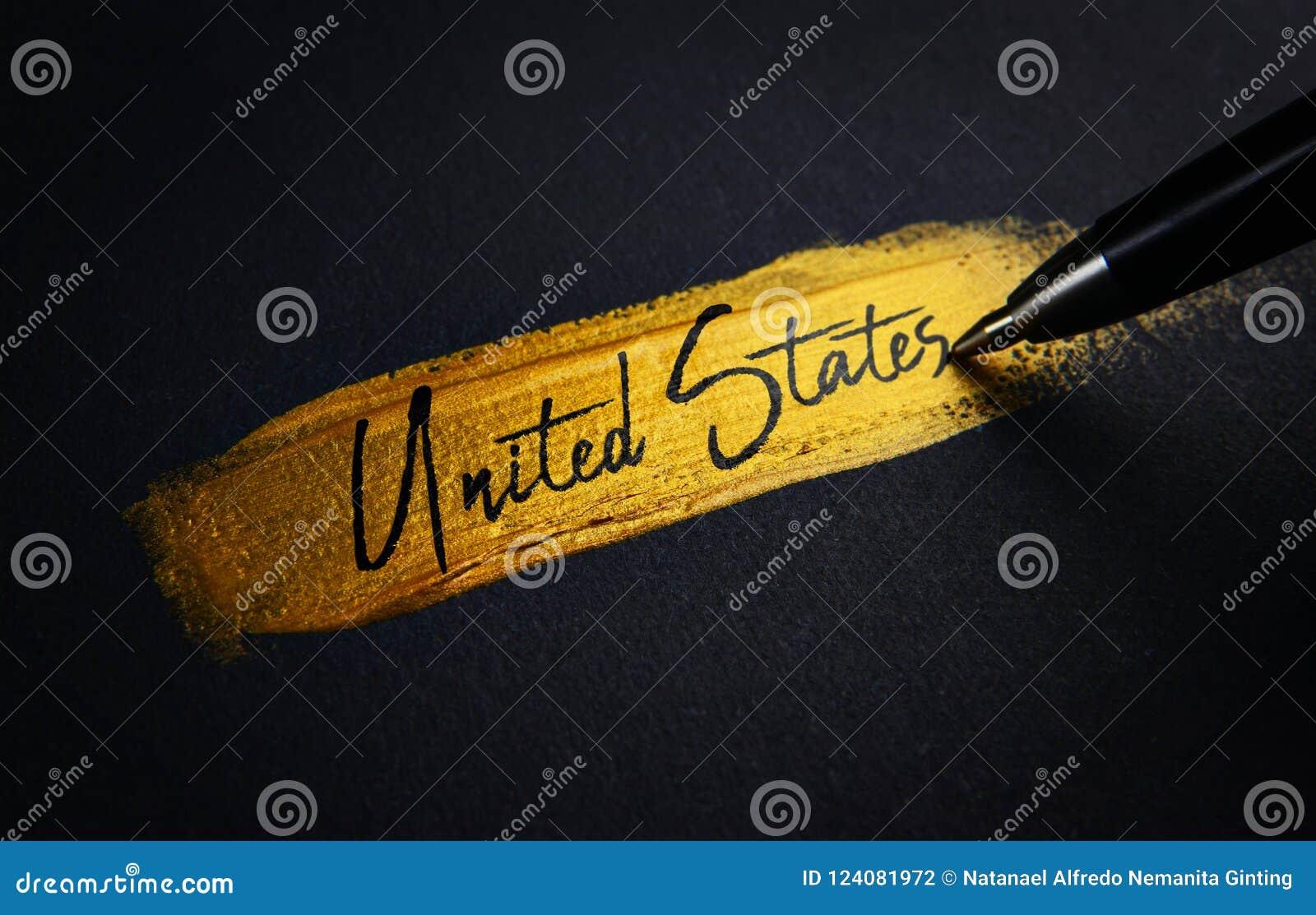 Het Handschrifttekst van Verenigde Staten op de Gouden Slag van de Verfborstel