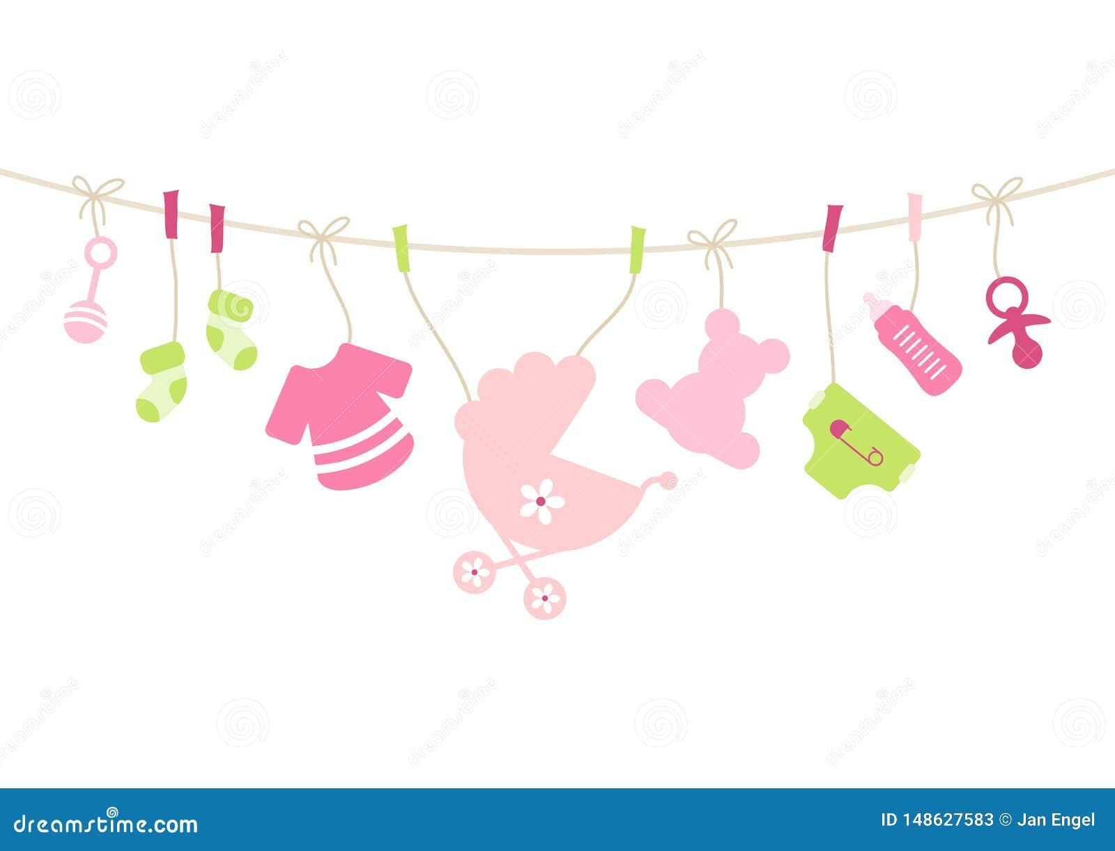 Het hangen het Roze van de het Meisjesboog van Babypictogrammen en Groen
