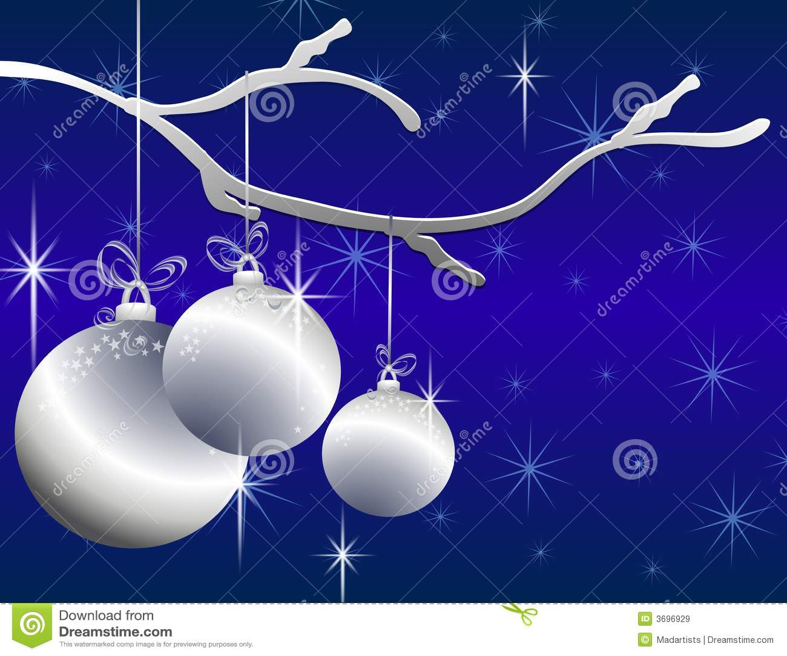Het hangen siert Zilveren Kerstmis Kaart