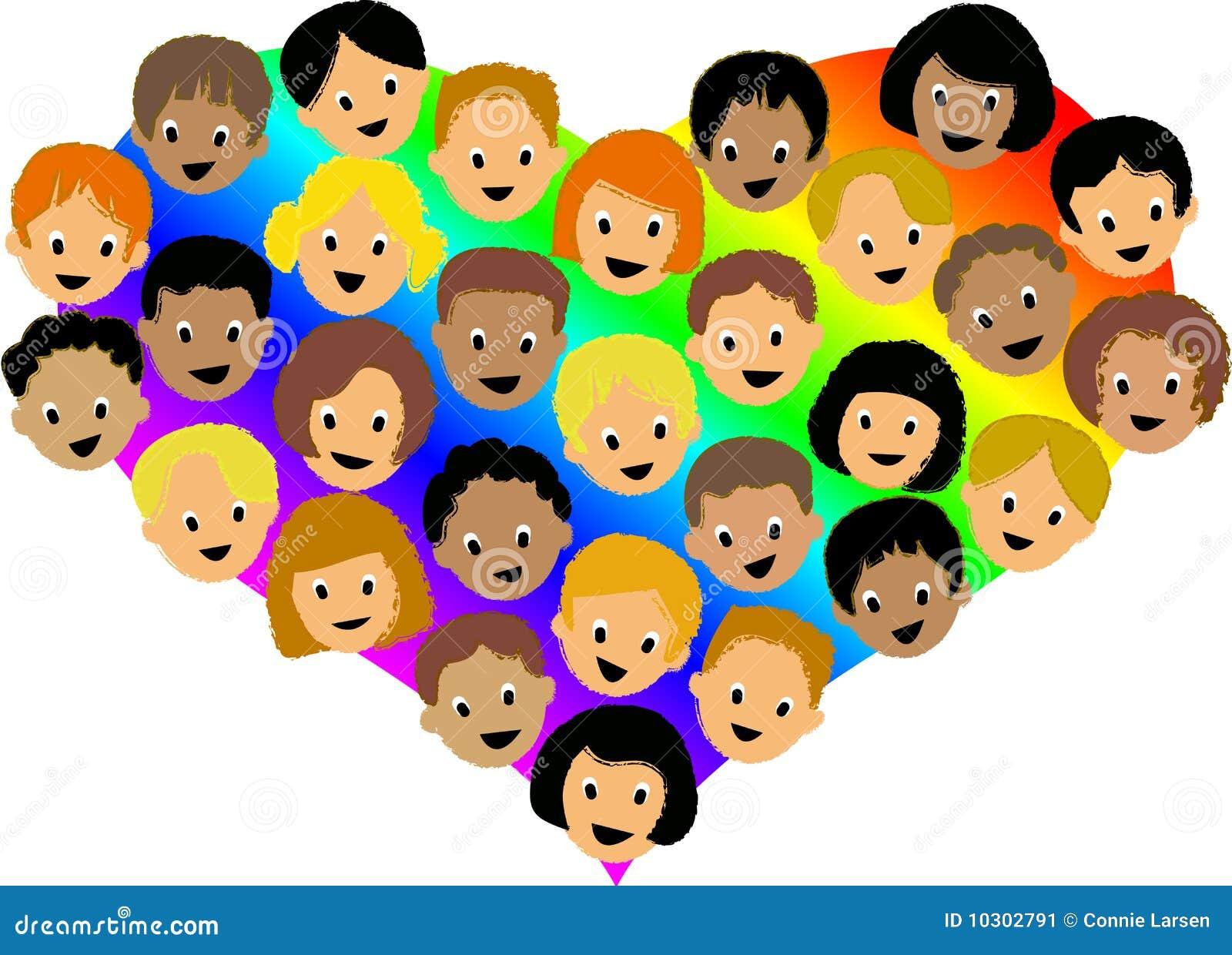 het hart childrenai van de regenboog vector illustratie