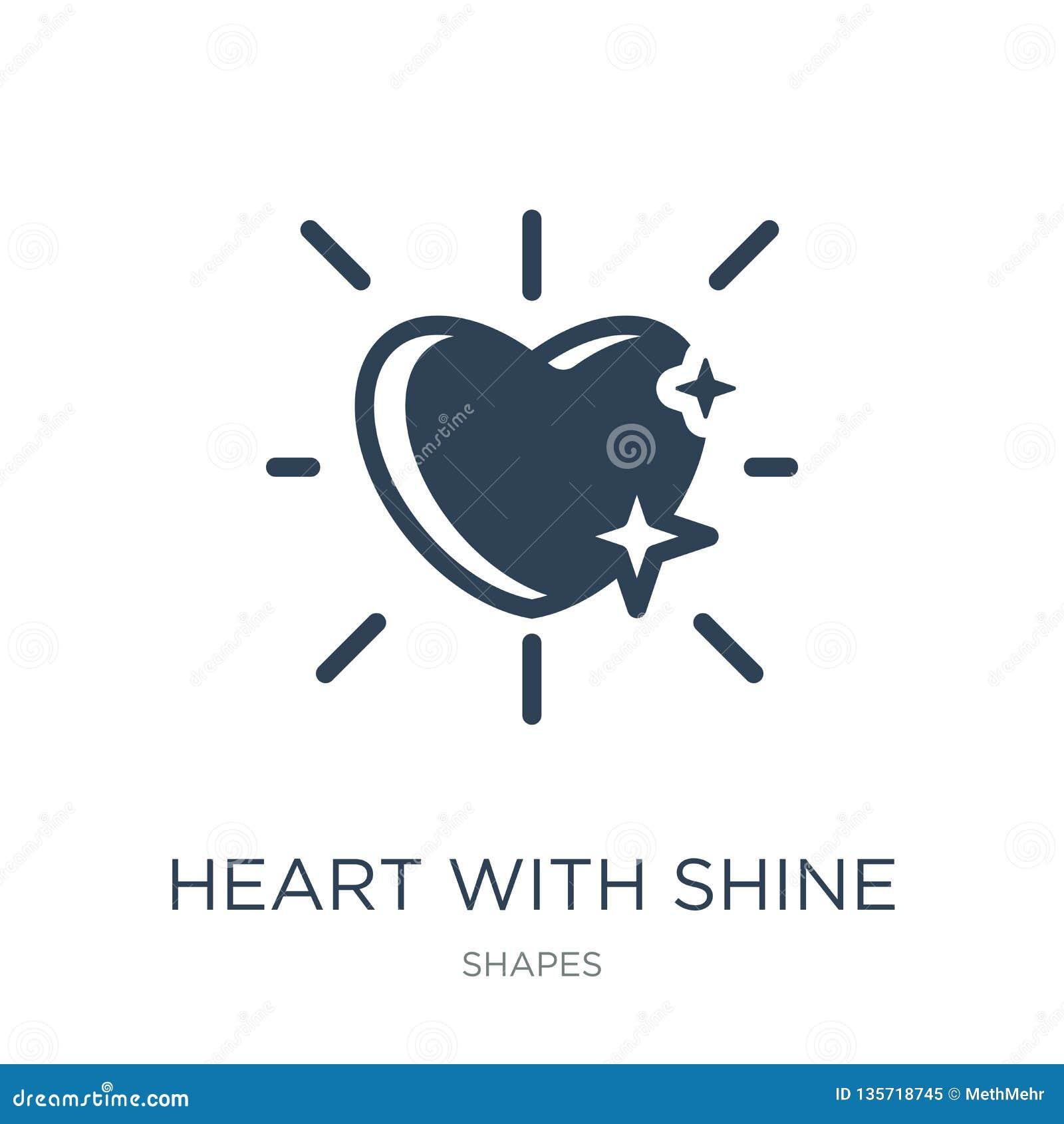 Het hart met glanst pictogram in in ontwerpstijl het hart met glanst pictogram op witte achtergrond wordt geïsoleerd die het hart
